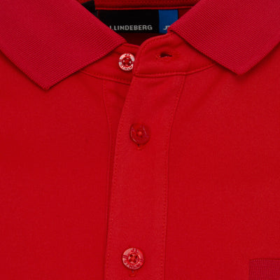 J.LINDEBERG Mens Petr TX Jersey Reg Fit Polo - RED