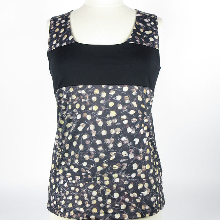 J.L Callie Ladies Tank Top - Black Pattern