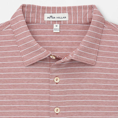 Peter Millar Mens Crown Ease Jackson Stripe Cotton Lisle Polo - CAPE RED