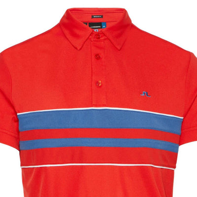 J.LINDEBERG Mens - LEO REG LUX PIQUE POLO SHIRT - DEEP RED