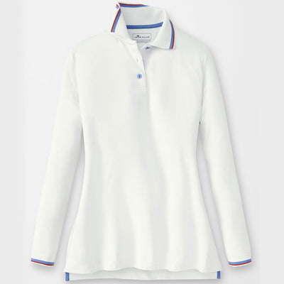 Peter Millar Women's Banded Long-Sleeve Polo - WHITE/MARINE/POPPY - sz Small