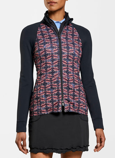 Peter Millar Women's The Monroe Printed Skirted Full-Zip Layer Jacket - BLACK - sz Small