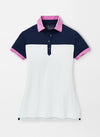 Peter Millar Women's Color Block Polo - WHITE/NAVY - sz Small
