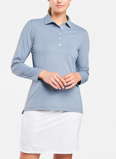 Peter Millar Womens Perfect Fit Performance Long-Sleeve Polo - NIGHTFALL - sz Small
