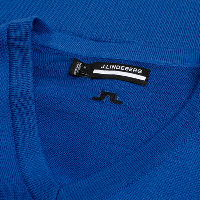 J. LINDEBERG MEN'S - LYMANN TRUE MERINO WOOL SWEATER - BLUE