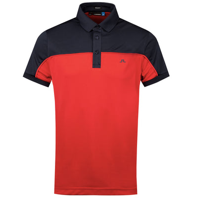 J.LINDEBERG MENS - MATEO REG FIT TX COOLMAX POLO SHIRT - DEEP RED