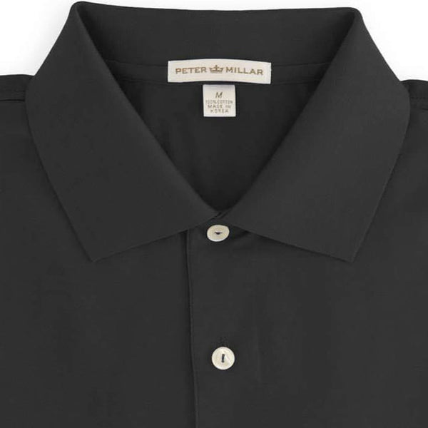 Peter Millar - Solid Cotton Lisle Polo 100% Egyptian Cotton - BLACK -SZ LARGE