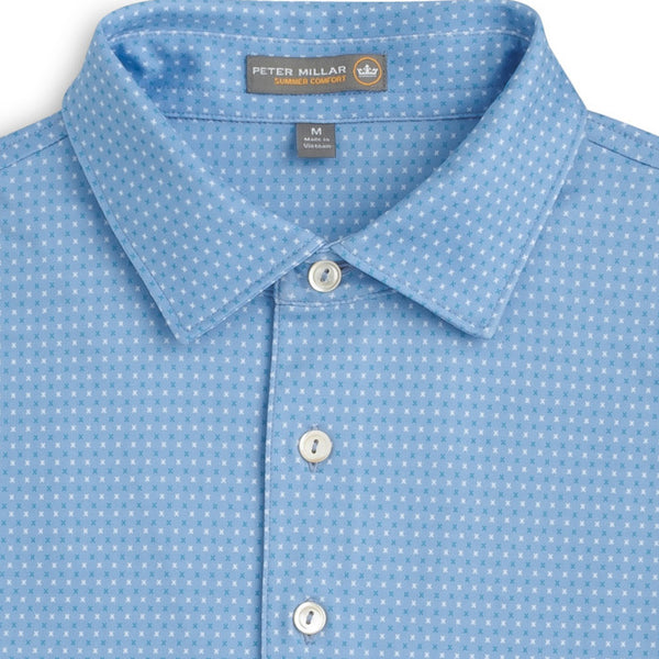 Peter Millar - Dutchess Print X Stretch Jersey Polo - BLUE -SZ LARGE