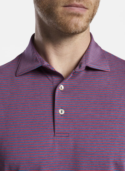 Peter Millar Mens Hales Performance Polo - CITY BLUE/POMEGRANATE