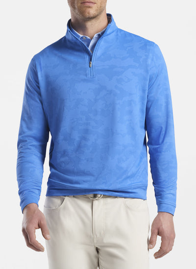 Peter Millar -  Mens Perth Camo Performance Quarter-Zip - CAPE BLUE