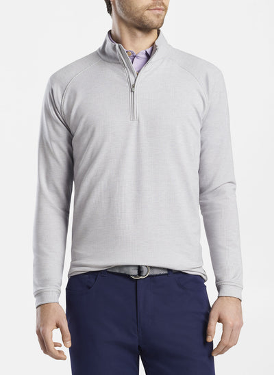 Peter Millar -  Mens drirelease® Natural Touch Houndstooth Quarter-Zip - GALE GREY