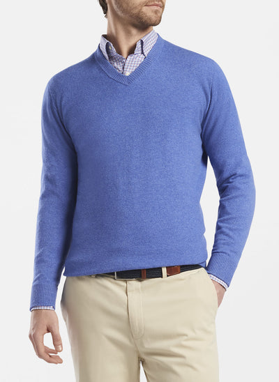 Peter Millar - Mens Crown Soft Cashmere V-Neck Sweater - CAPE BLUE