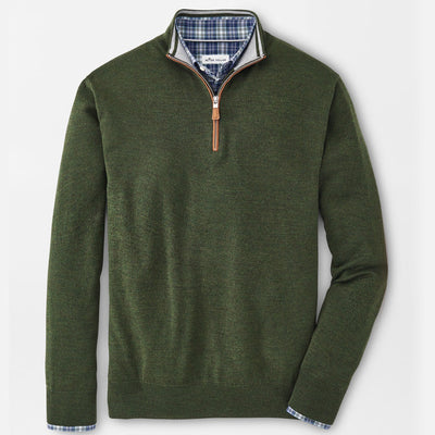 Peter Millar - Mens Crown Soft Suede Trim Quarter-Zip - LODEN