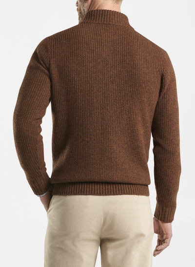 Peter Millar - Mens Basket-Weave Button Mock Sweater- DARK SCOTCH