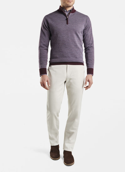 Peter Millar - Mens Diamond Jacquard Quarter-Zip Sweater - CURRANT