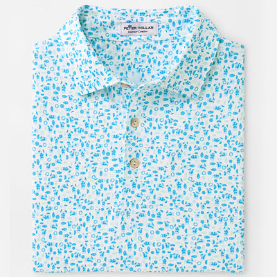 Peter Millar - Morrison Printed Mojito Stretch Performance Polo - WHITE/BLUE
