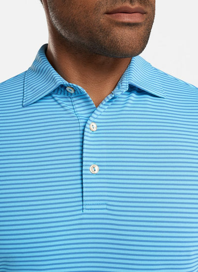 Peter Millar - Mens Grace Stretch Mesh Performance Polo - TROPICAL BLUE