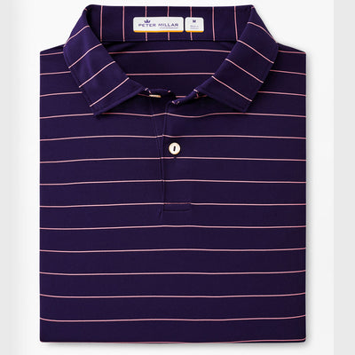 Peter Millar - Mens Featherweight Striped Performance Polo - NAVY