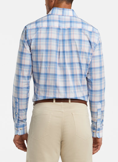 Peter Millar - Mens Milo Cotton-Blend Sport Shirt - LAKE BLUE - SZ Medium