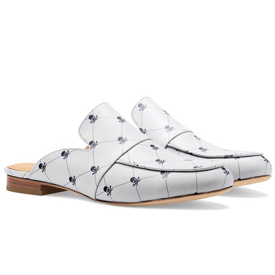 G/FORE WOMENS SKULL & T'S MULE SHOES - SNOW