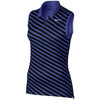 Nike Women's Precision Print Sleeveless Golf Polos - DEEP NIGHT/BLACK/METALLIC SILVER