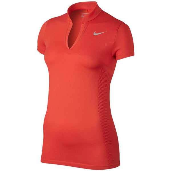 Nike Women's Zonal Cooling Dri-FIT Knit Golf Polos - MAX ORANGE/GYM RED/FLT SILVER