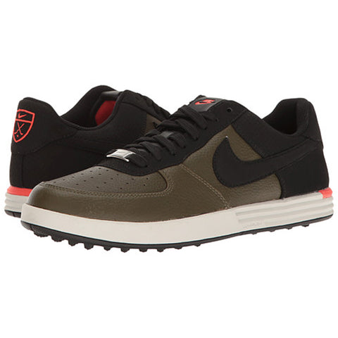 Nike Men's Lunar Force 1 G Golf Shoes - Cargo Khaki/Black/Max Orange/Light Bone