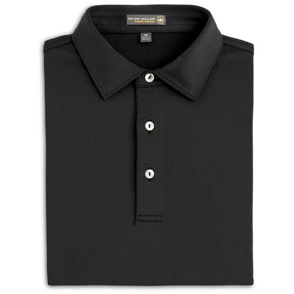 Peter Millar - Solid Stretch Jersey Polo - BLACK -SZ LARGE