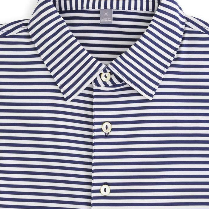 Peter Millar - Competition Stripe Stretch Jersey Polo 100% Cotton - NAVY/WHITE -SZ LARGE