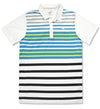 Puma Mens - SS Road Map Golf Polo Shirt - Bright White-Sharp Green
