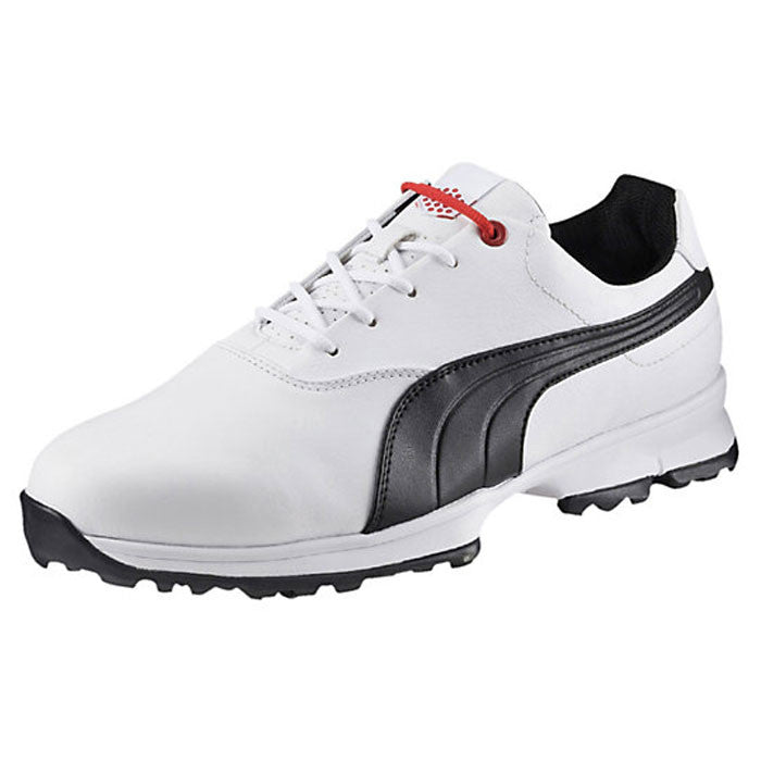 PUMA GOLF ACE WHITE-BLACK-HIGH RISK RED MEN'S GOLF SHOES