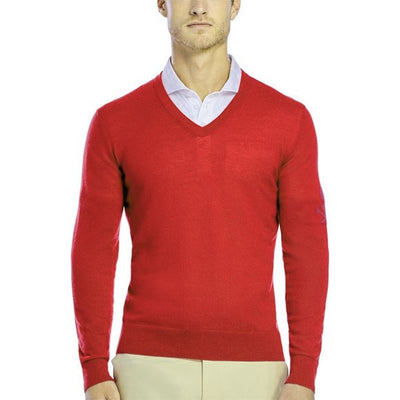 G/FORE MENS V NECK CAHMERE SWEATER - CADIUM