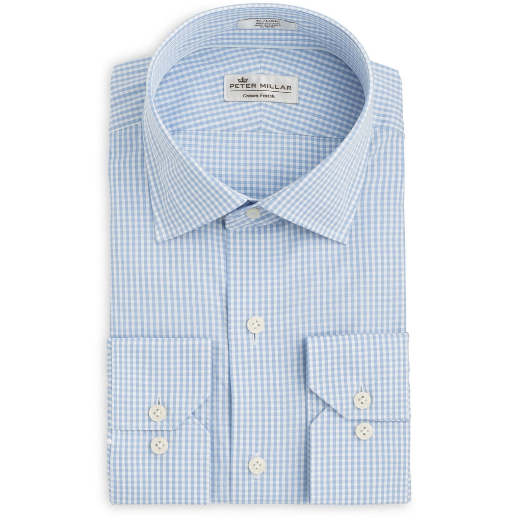 Peter Millar - Mens Crown Finish Gingham Dress Shirt - BLUE -SZ 16 LONG