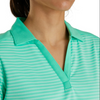 FootJoy Women's Lisle Tonal Stripe Open Neckline - Heather Jade