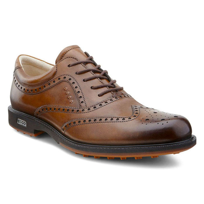 ECCO Mens Tour Golf Hybrid Wingtip - Walnut Oxford Leather
