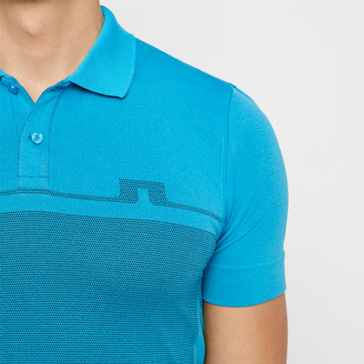 J.LINDEBERG Mens Slim Alfred Seamless Polo - TRUE BLUE