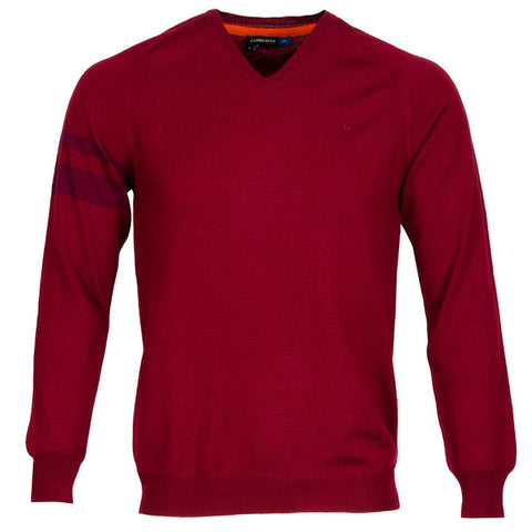 J.L Armstriped True Merino Knit - Dark Red