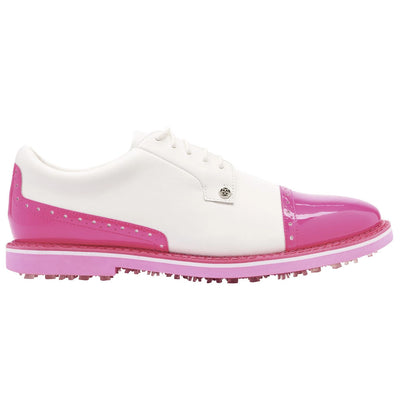 G/FORE MENS CAP TOE GALLIVANTER GOLF SHOE - SNOW/DAY GLO PINK -  SZ 11