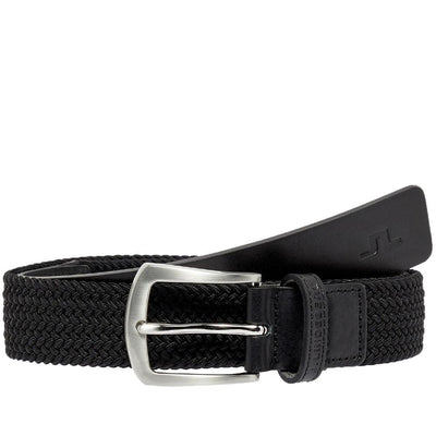 J.LINDEBERG MENS CASPIAN ELASTIC BRAID GOLF BELT - BLACK