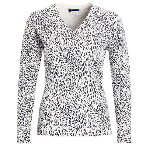 J.L Dahlia Viscose Knit Printed White - Ladies