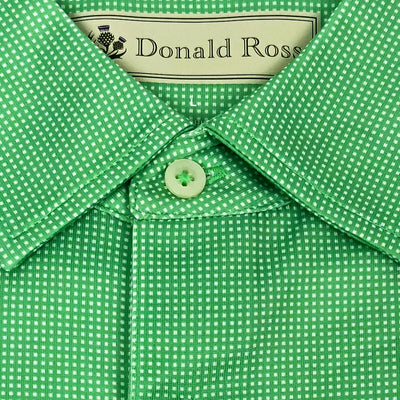 Mens Short Sleeve JERSEY Print With Mini Check Pattern - Kelly Green