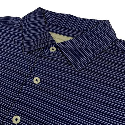 Donald Ross Mens Short Sleeve FANCY Multi Stripe JERSEY Polo, Knit Collar - NAVY/JUNIPER