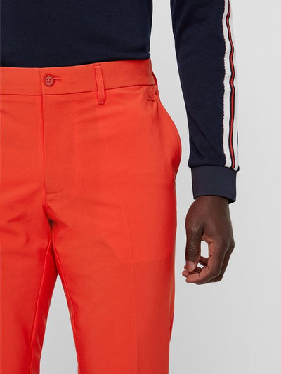 J.LINDEBERG MENS M ELLOTT TIGHT MICRO STRETCH GOLF TROUSERS - RED