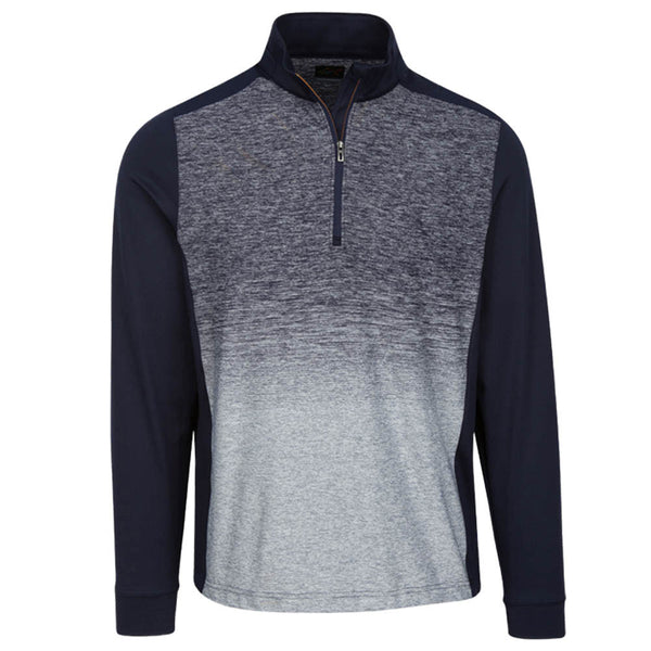 Greg Norman Heathered Long Sleeve 1/4 zip mock- Sonar Blue