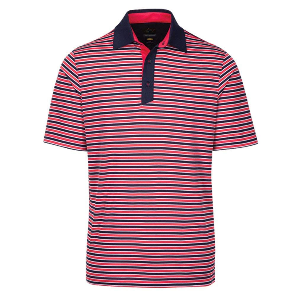 Greg Norman Mens Weatherknit Dawn Polo - Navy/ Red