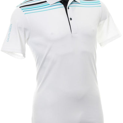 Galvin Green Mens MELWIN VENTIL8™ PLUS Polo - White/Bluebird