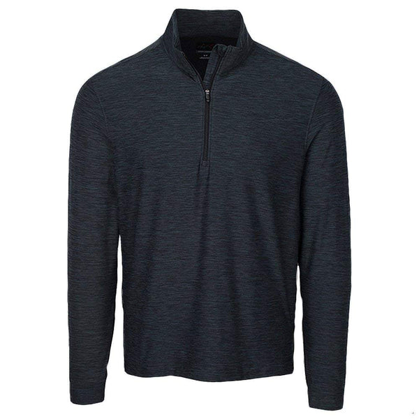 Greg Norman Heathered Long Sleeve 1/4 zip mock- BLACK