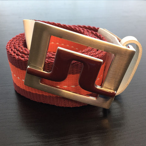 Slater 40 2.0 Striped Webbing Belt Dk Red
