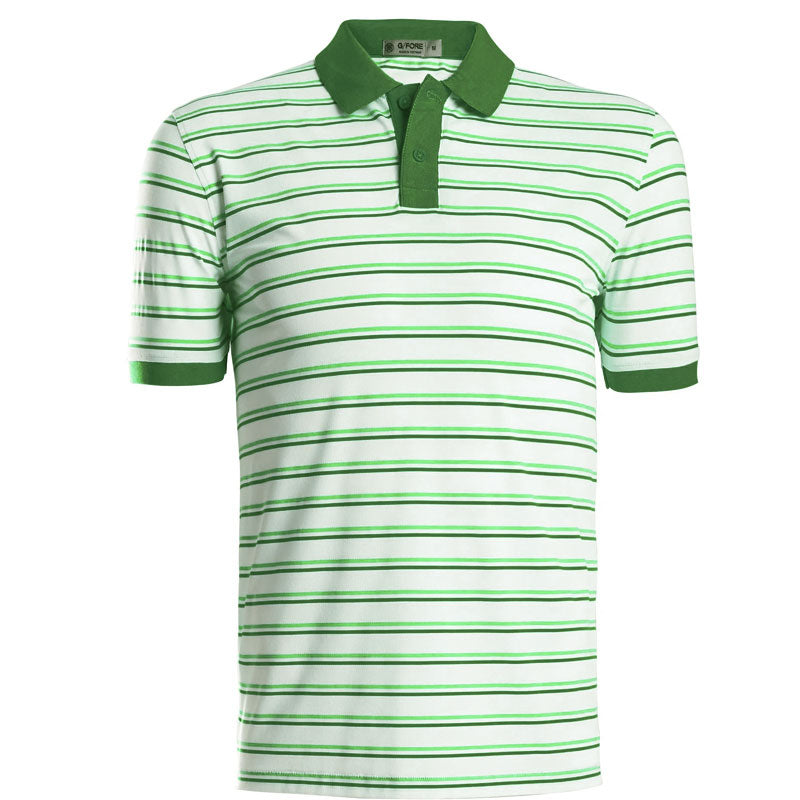 G/FORE MENS LTD EDITION PERFORATED MULTI STRIPE POLO - JADE/GREEN