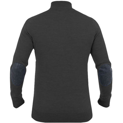 J.LINDEBERG MENS LTD EDITION  KIAN PATCH TRUE MERINO SWEATER - DK GREY MELANGE